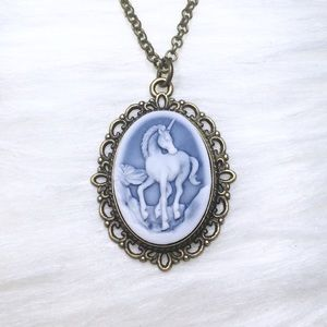 Handmade Unicorn Cameo Pendant Brass Tone Necklace
